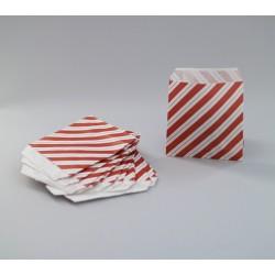 Csíkos papírtasak - 8x8 cm - BORDÓ