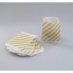 Csíkos papírtasak - 8x8 cm - SÁRGA