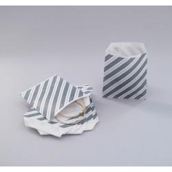 Csíkos papírtasak - 8x8 cm - SZÜRKE