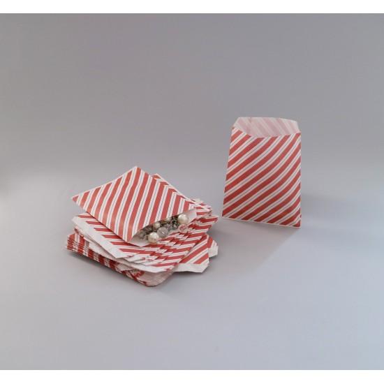 Csíkos papírtasak - 12x14,5 cm - BORDÓ