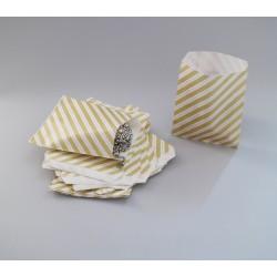 Csíkos papírtasak - 12x14,5 cm - SÁRGA