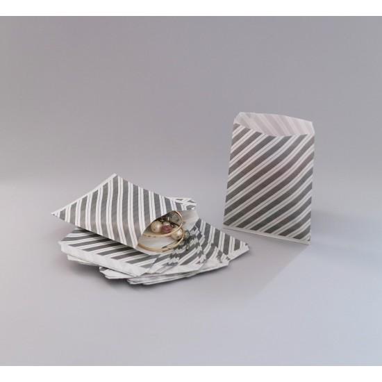 Csíkos papírtasak - 12x14,5 cm - SZÜRKE
