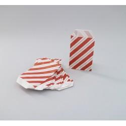 Csíkos papírtasak - 5x7,5 cm - BORDÓ