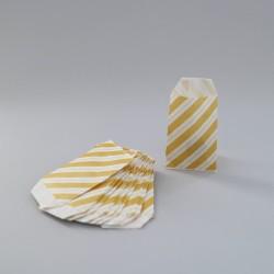Csíkos papírtasak - 5x7,5 cm - SÁRGA