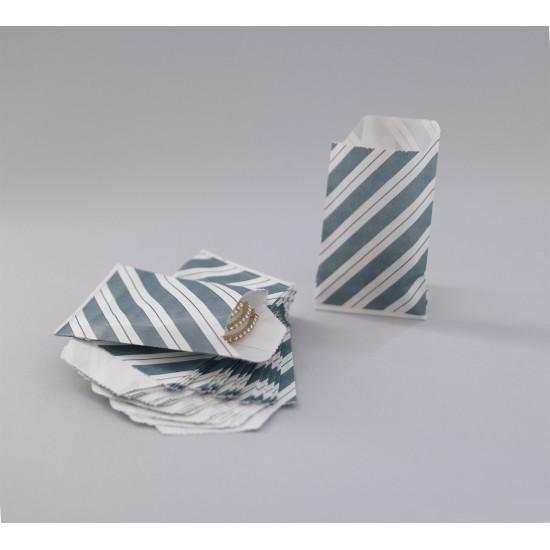 Csíkos papírtasak - 5x7,5 cm - SZÜRKE