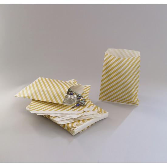 Csíkos papírtasak - 16x20,5 cm - SÁRGA